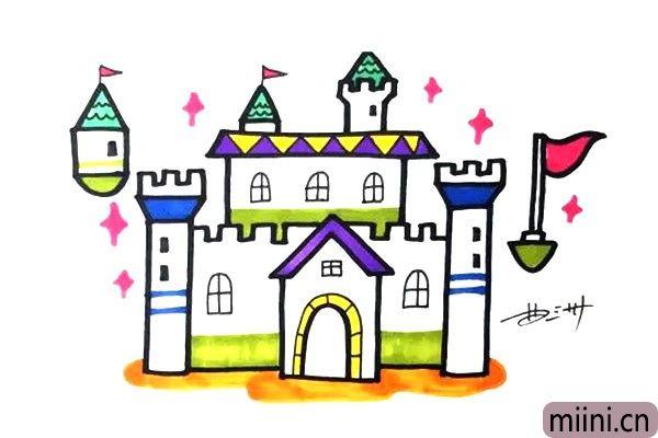 漂亮的魔法城堡简笔画步骤教程