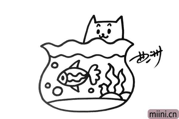 4.鱼缸边上还有一只好奇的小猫,它在干什么呢?