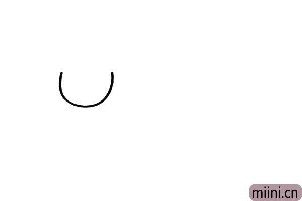 1.女生的脸型是圆圆的,用弧线把人物的脸型勾出来。