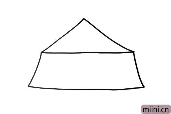 2.然后画出大棚的主体部分,有点像个梯形。