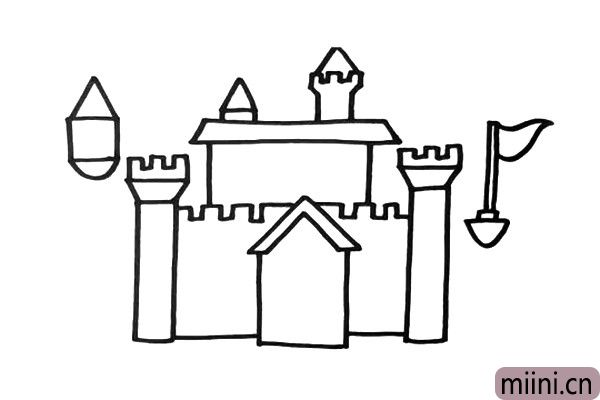 3.再把学校整体的造型完成,还有一些魔法建筑漂浮在空中。