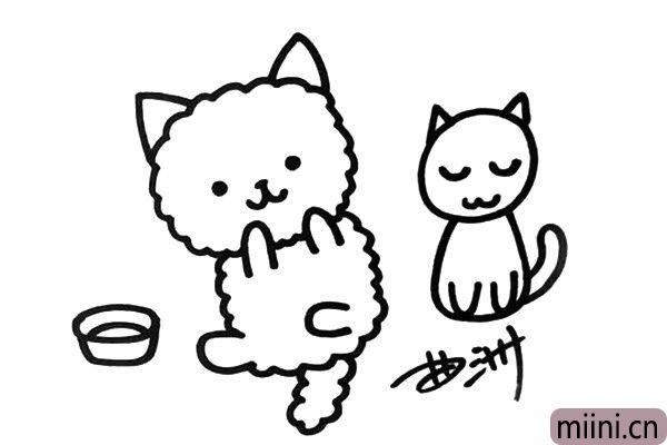 4.画出简单的背景,我画了一个小猫玩偶和一个饭盆。