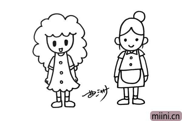 4.再画出她的居家服,妈妈总是很辛苦的。