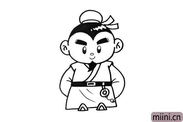 4.手臂也是刘备这个人物的特征,要画的长一点。