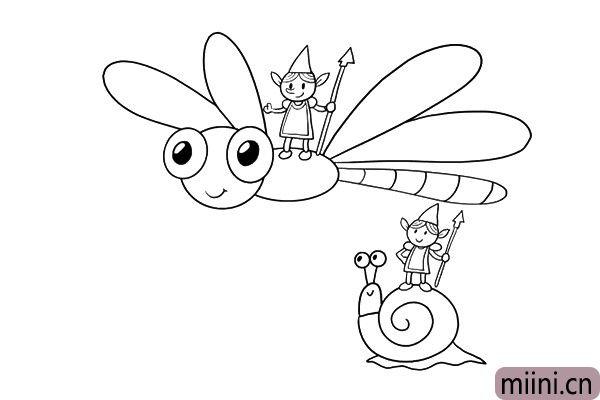 5.地面小精灵的坐骑是蜗牛,把他们画出来吧。