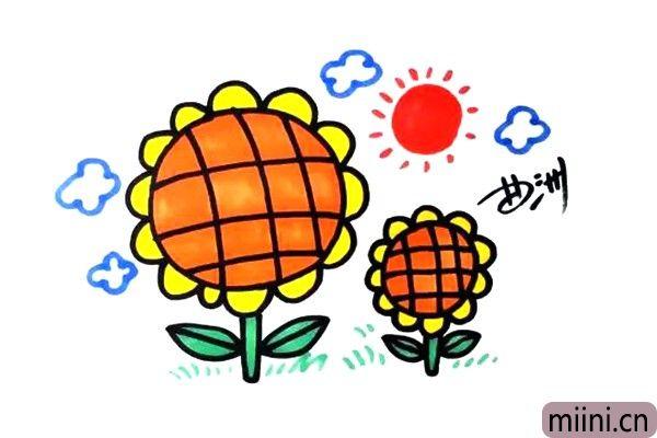 围绕太阳转的向日癸太阳花简笔画步骤教程