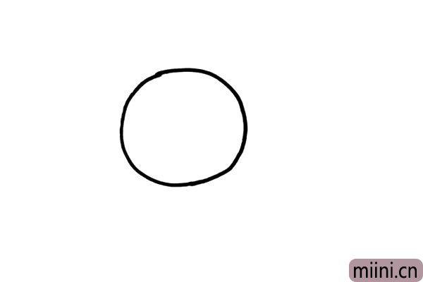 1.画一个大大的圆形,这是向日葵的花盘。