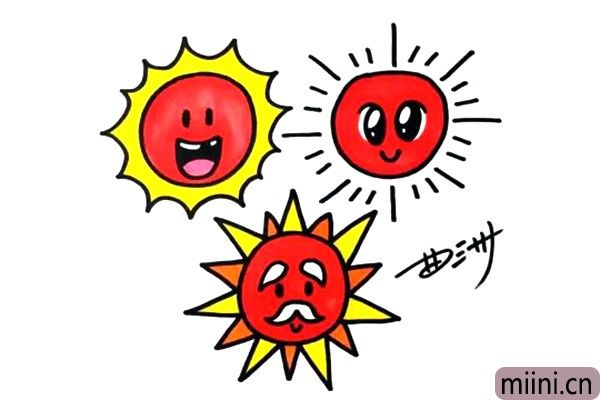 5.太阳的主体色调是黄色和红色,为三个太阳涂上颜色吧。
