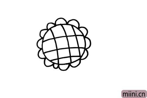 3.用交叉线条,画出向日葵花心的特征。