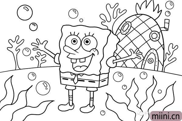 7.接着画出神奇的海底世界吧,这里可以发挥自己的创意,把海底世界画的丰富一些。