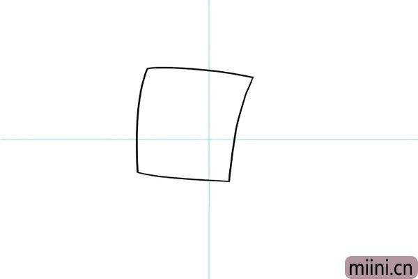 1.先从海绵宝宝方形的头部开始画,这是个半侧面的头部。