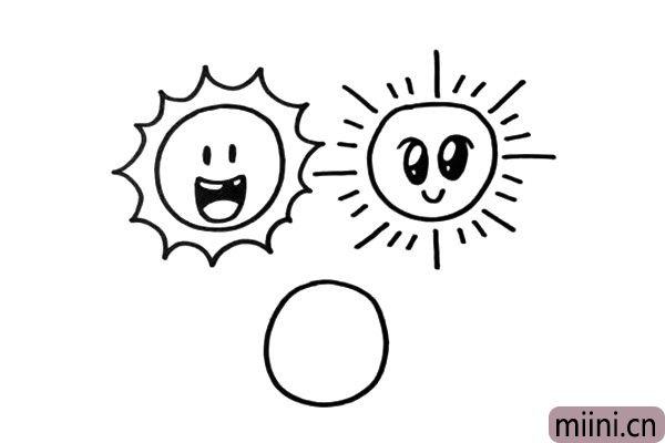3.接着我们画出第二个太阳,它的光线是用长短不一的直线来表示。