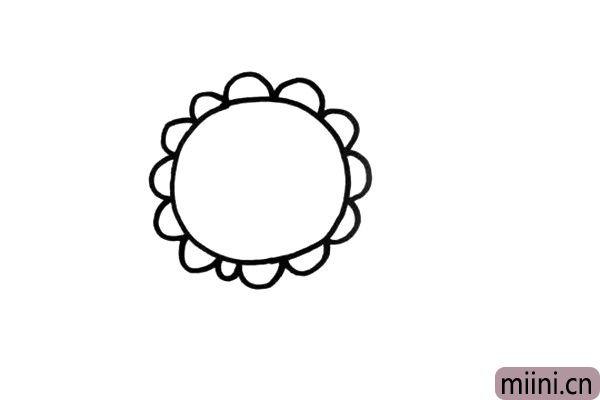 2.用一些小弧线画出花瓣。