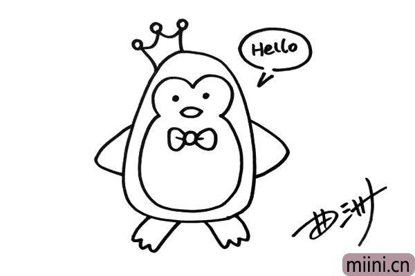 4.这一定是只企鹅王子,因为它头上有王冠,企鹅王子还在和我们打招呼呢。