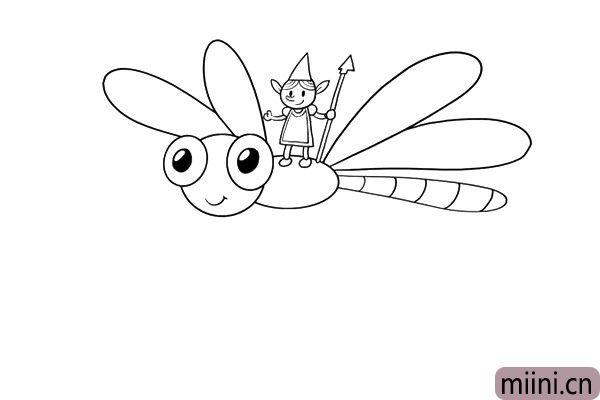 4.画好精灵后,再加上蜻蜓的翅膀,这点一定要注意哦。