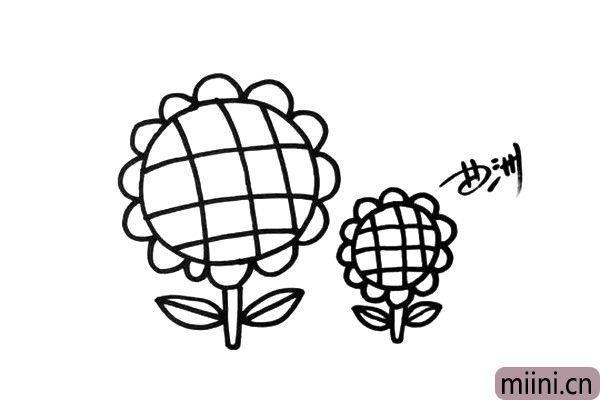 5.再画出一朵小一点的向日葵,你也可以多画几朵,让画面更丰富。