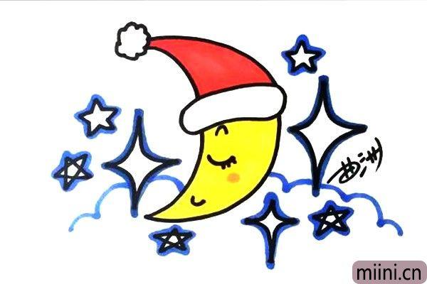 5.月亮是黄色的,它的帽子是红色。星星嘛,我就用蓝色勾个边,这样就可以了。