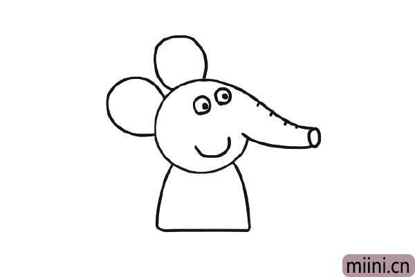 第五步,给小象画上身体。