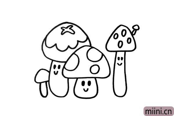 3.蘑菇家族里,还有不少形态各异的成员,要画出它们不同的特征。