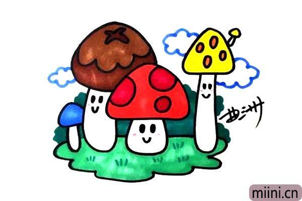 蘑菇小精灵简笔画步骤教程