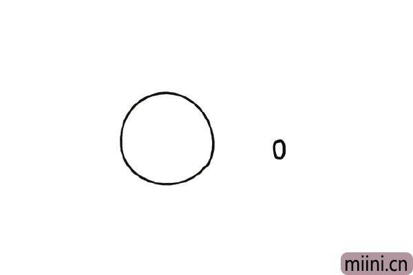 第一步,先画一大一小的两个圆圈,大的是小象的头,小的是小象的鼻子。