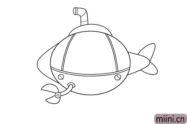3.发挥你的创意,画出潜水艇的各种装备吧,我的潜水艇搭载了潜望镜和大钳子,这样可以观察到水面的动静,还能用钳子开路。