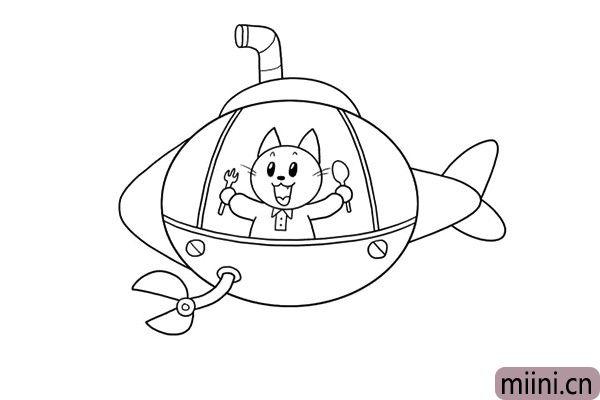 4.船舱里的旅客,竟然是一只小猫,它拿着餐具是想干嘛呢?