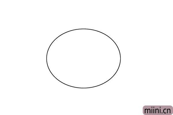 1.在画纸中间,画出一个超级大的椭圆形,这是潜水艇的身体。