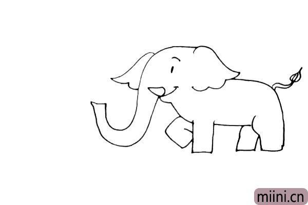 第五步:两只腿的大象可能站不住,我们还需要给他再加上另外一只弯曲的前腿和后腿,再画上它的小尾巴。