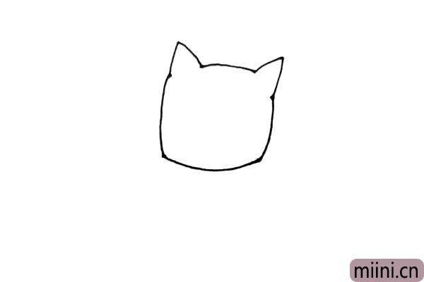 第二步:画上一个较圆的方形,作它的脸。