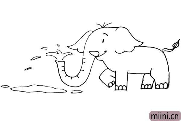 第六步:细化一下大象身上的纹路,例如大象鼻子上的褶皱,稀疏的头发和大象的脚趾。