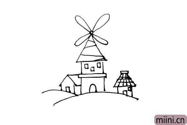 第七步:右边也画上一个小房子,屋顶可以画上自己喜欢的形状。