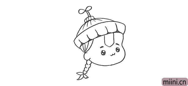 第七步:向后画出他的小辫子.注意辫子的画法。