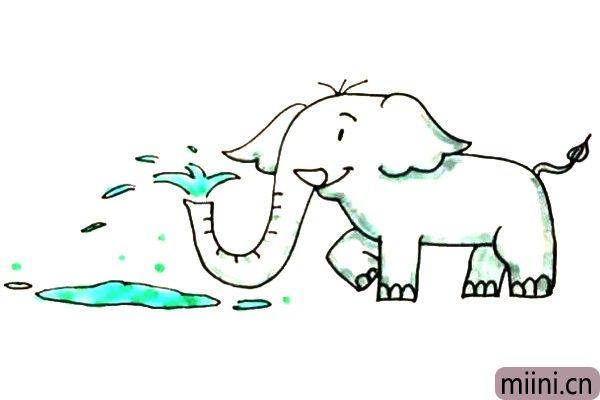 可爱的大象喷水简笔画步骤教程
