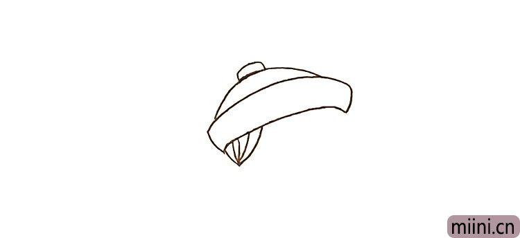 第二步:在帽子的测下方用弧线勾勒出他的鬓角。