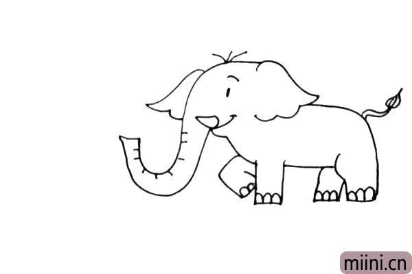 第七步:大象画好了,我们给它画上鼻子喷出的水花吧,再画上一些水珠和地面上的水。