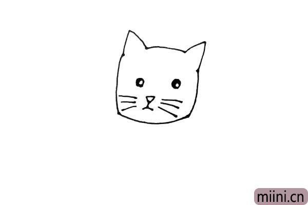 第三步:脸里,画上圆圆的眼睛,留出一点高光,画个倒三角形的鼻子,下面画好嘴以后,左右各画上三根胡须。