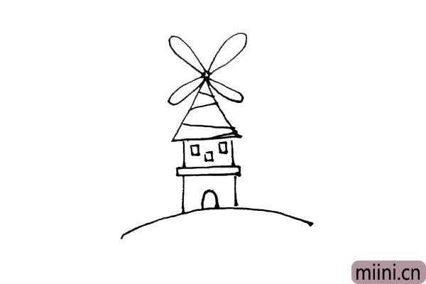 第五步:用斜线来装饰屋顶,下面画上小窗户和门作为装饰。