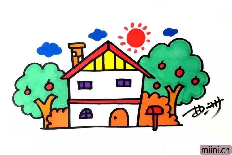 果农住的小房子简笔画步骤教程