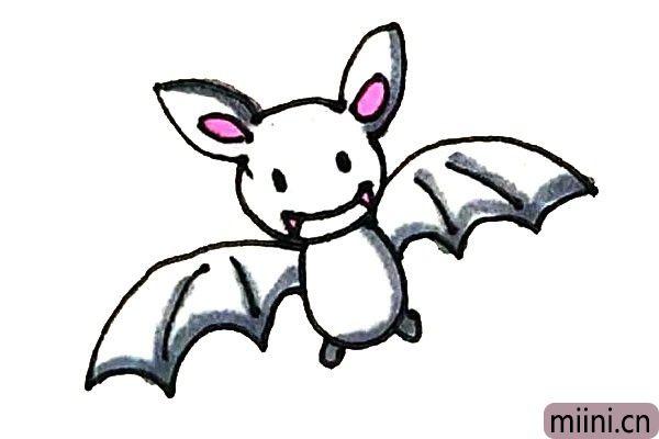 第八步:最后涂上好看的颜色,蝙蝠就完成了。