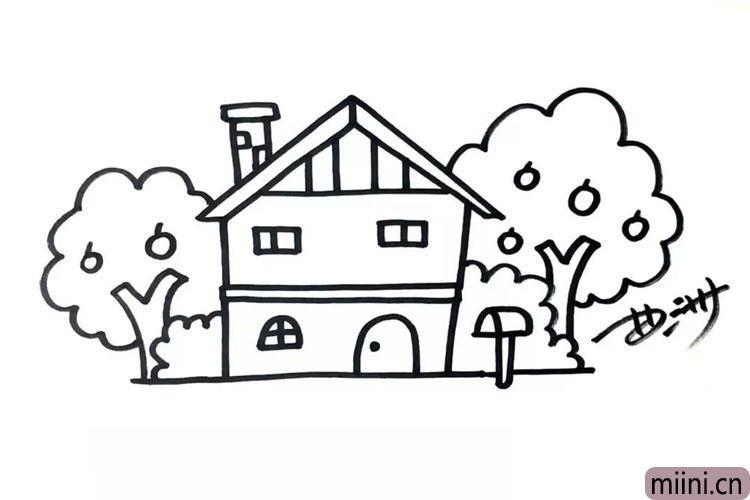 第四步:画出邮箱、灌木和果树