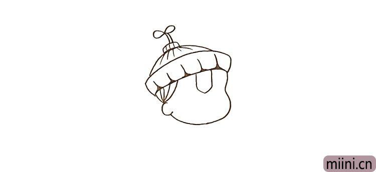 第五步:接着勾勒出帽子的纹理以及头顶的小草。