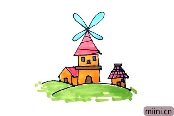 第八步:最后给画好的风车屋涂上漂亮的颜色就好了。