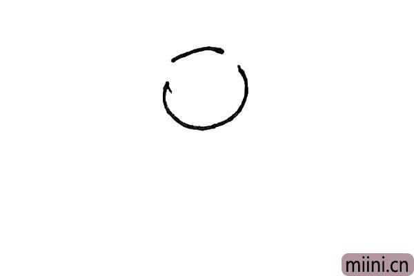 第一步:先画出有两个缺口的圆形。
