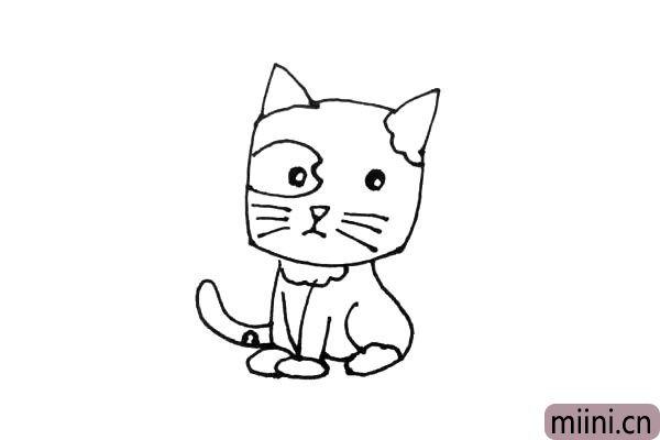 第七步:在小怪的耳朵,眼睛,脚和尾巴上画上花纹。