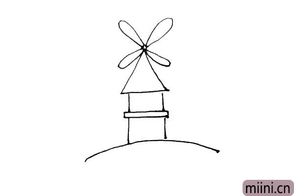 第四步:在三角形的尖尖处画上一个小圆,再画出四片像水滴形状的风车叶。