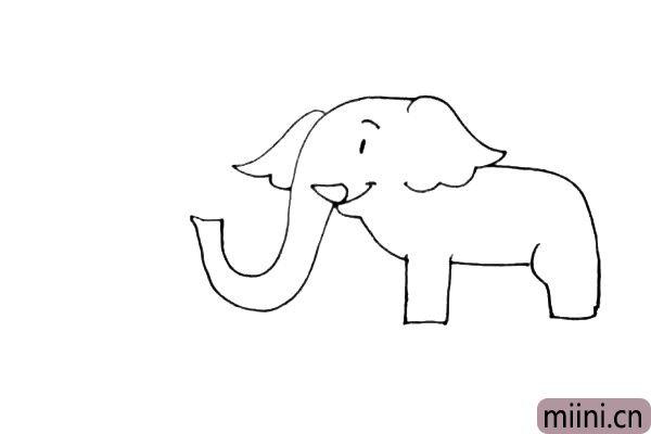 第四步:接着画上大象的身体部位,弯弯的背部和粗壮的前腿和后腿。