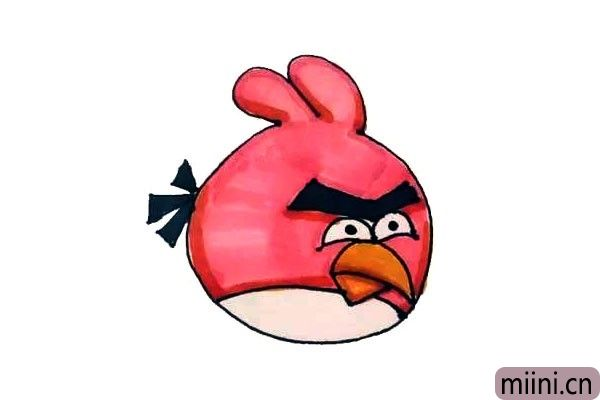 红色的愤怒的小鸟简笔画步骤教程