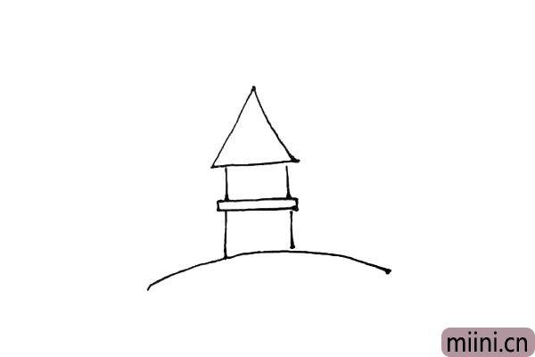 第三步:再竖下来两条小线,上面画上一个三角形作为屋顶。