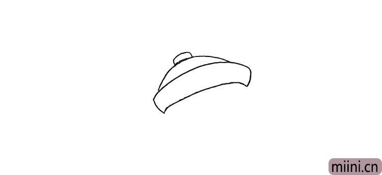 第一步:首先画上僵小鱼的帽子.仔细观察帽子的画法。